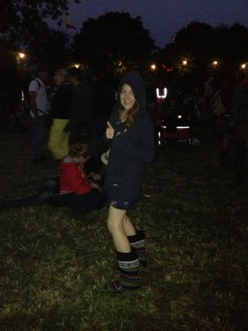 Mountain Warehouse welly boots in use at Glastonbury