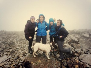 The team looking worn out at the top of Ben Nevis!